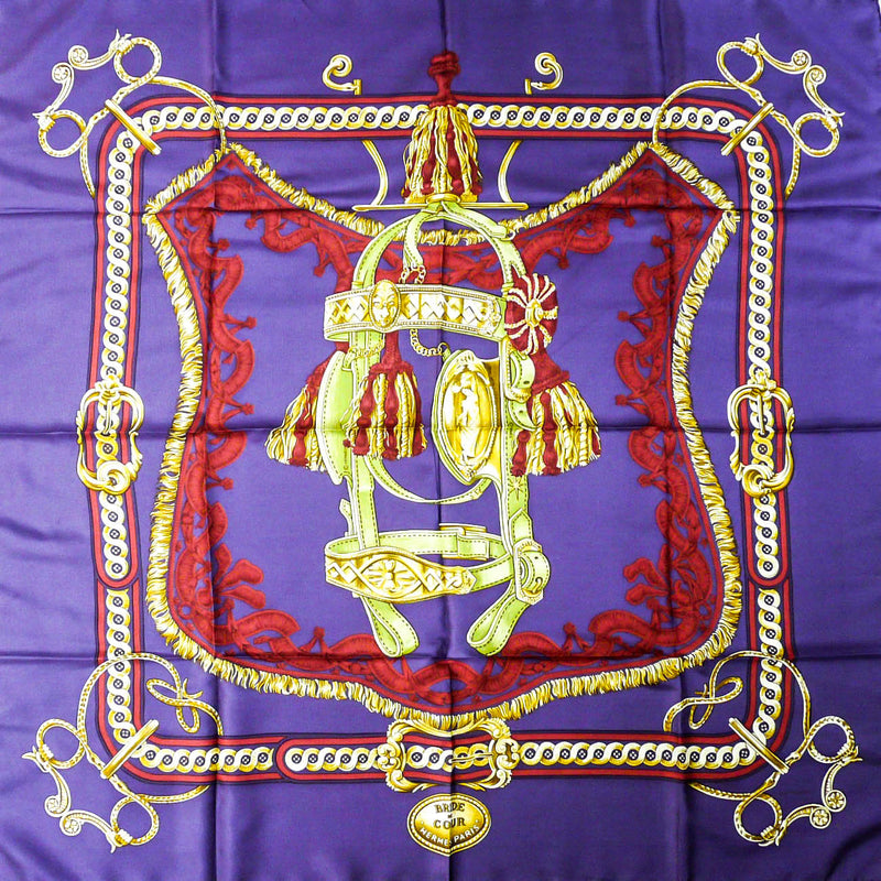 Bride de Cour HERMES Silk Scarf Purple