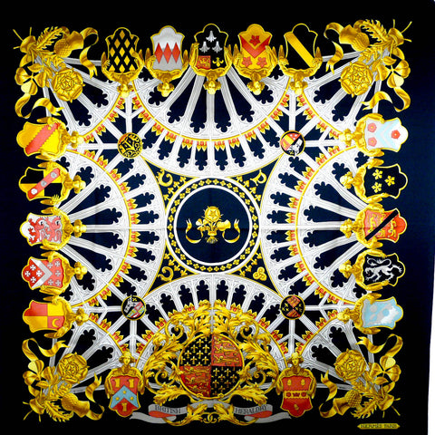 British Heraldry HERMES Silk Scarf Black Colorway