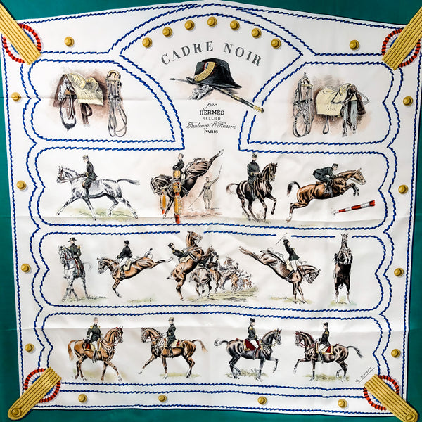Cadre Noir Hermes Silk Scarf by Colonel G. Margot 90 cm Silk Twill