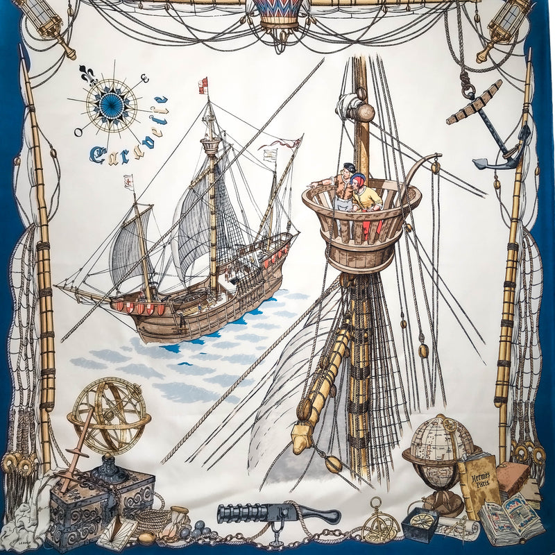 Caravelle Hermes Scarf by Ledoux 90 cm Silk - Early Issue