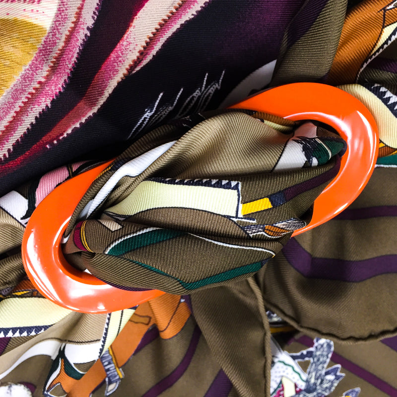 Grand Luxe Reversible Horn Scarf ring with Pani La Shar Pawnee Hermes scarf