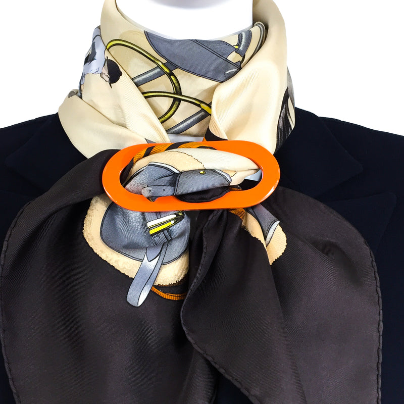 Grand Luxe Reversible Horn Scarf ring with Jumping Hermes Scarf