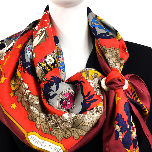 Moyenne Luxe Horn Scarf Ring with HERMES Emblemes de l'Europe