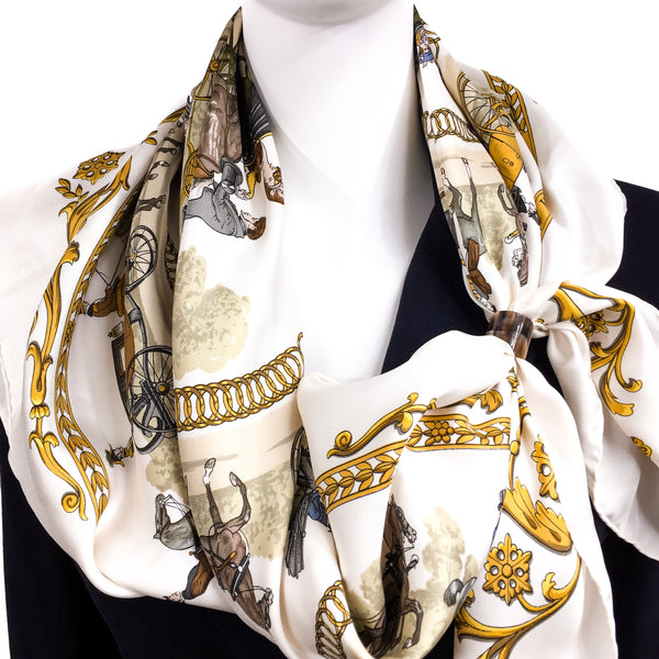 Anneau Moderne Horn Scarf Ring by Carre de Paris with HERMES Promenade de Longchamps Scarf