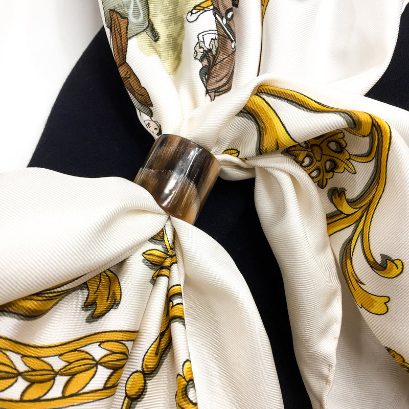 Anneau Moderne Horn Scarf Ring by Carre de Paris with HERMES Promenade de Longchamps Scarf close up