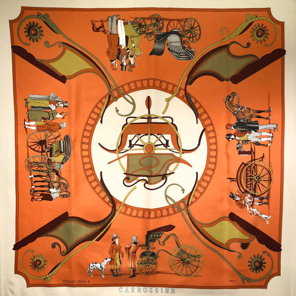 Carrossier Hermes Silk Scarf 90 cm square in cinnamon/khaki and creamy beige
