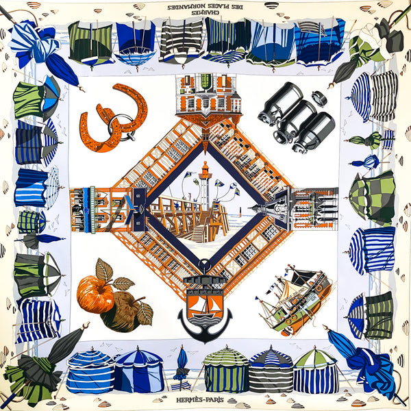 Charmes des Plages Normands Hermes Scarf by Loic Dubigeon 90cm Silk RARE