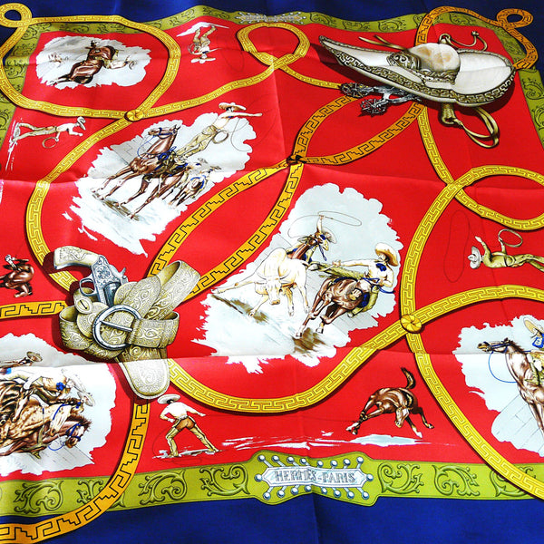 Charreada HERMES Silk Scarf Raspberry Red 90 cm