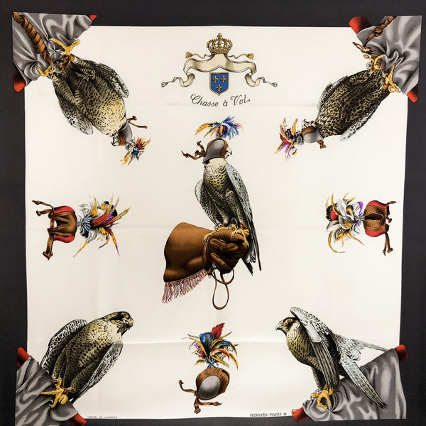 Chasse a Vol Hermes Silk Scarf Vintage RARE 1962 issue