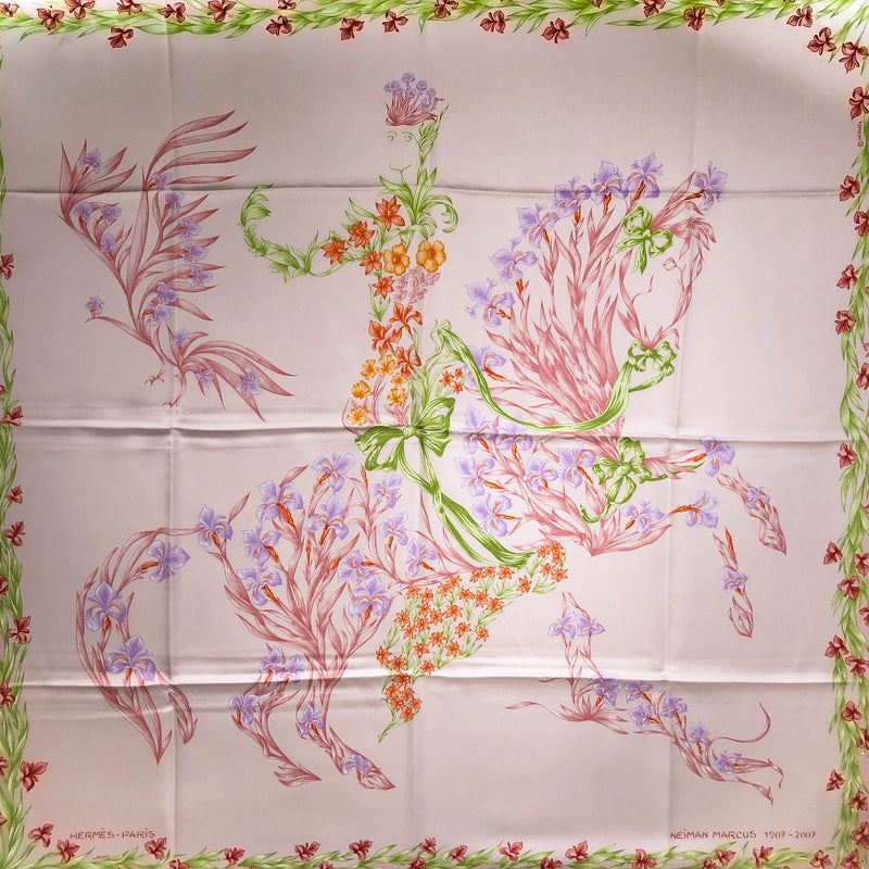 Cheval Fleuri HERMES SCARF BY Origny 90 CM SILK - Neiman Marcus Sopecial ISSUE