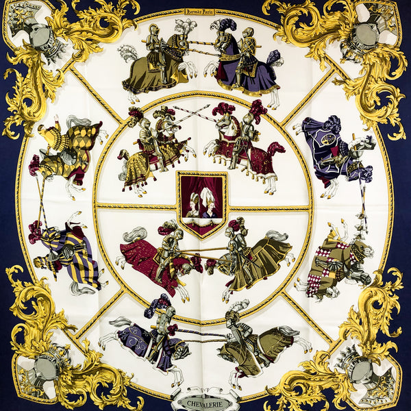 Chevalerie Hermes Silk Scarf Navy Border - Early issue