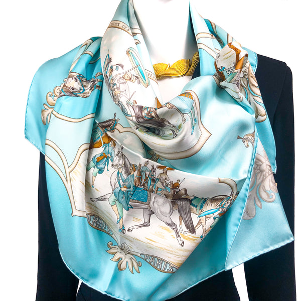 Les Chevaux des Empereurs Moghols Hermes silk scarf in turquoise colorway
