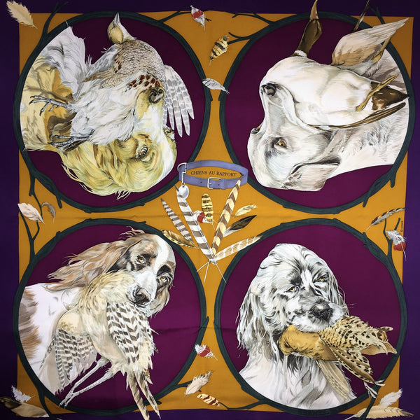 Hermes Silk Scarf Chiens au Rapport