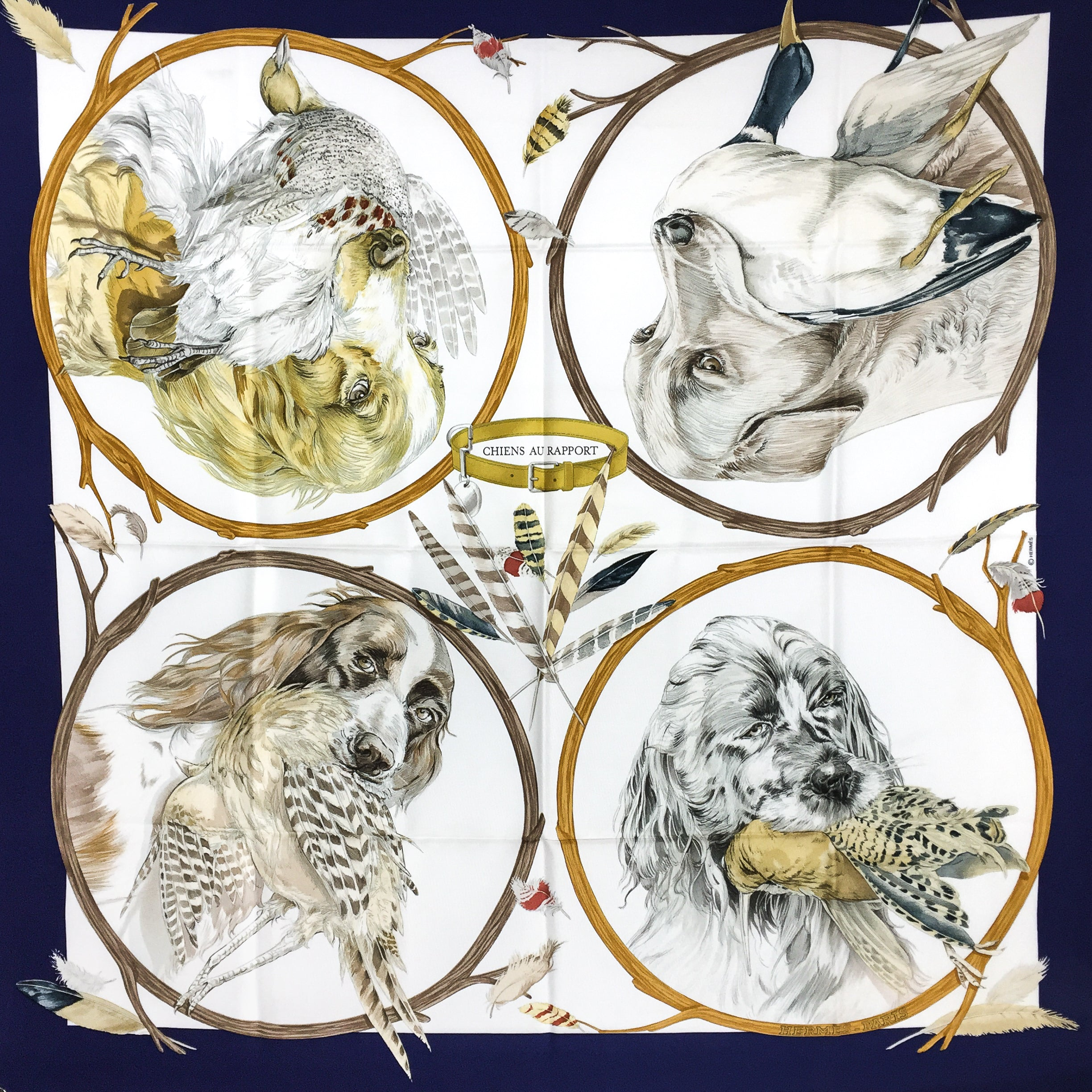 Chiens au Rapport Hermes Silk Scarf