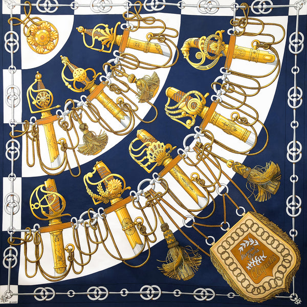 Cliquetis Hermes Scarf by Julia Abadie 90 cm Silk Twill Navy