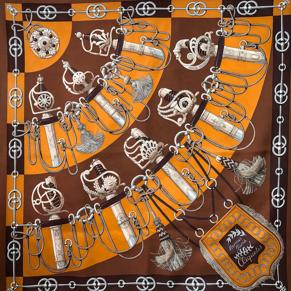Cliquetis Hermes Scarf by Julia Abadie 90 cm Silk Twill Brown