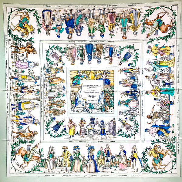 Costumes Civils Actuels Hermes silk twill scarf