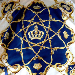 Crown or Couronnes HERMES Silk Scarf Blue White 90 cm