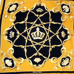 Crown HERMES Silk Scarf Gold and Black 90 cm