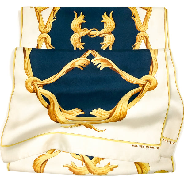Crown Hermes Reversible Shawl/Opera Scarf by Julia Abadie Silk RAREv