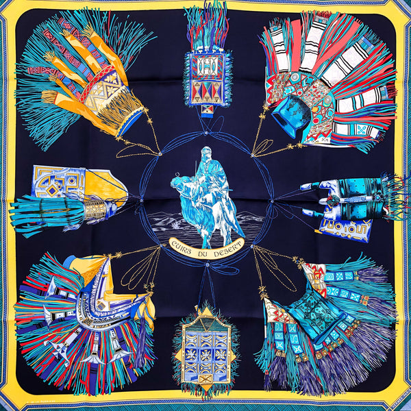 Cuirs du Desert Hermes silk scarf in yellow and blue 90cm square