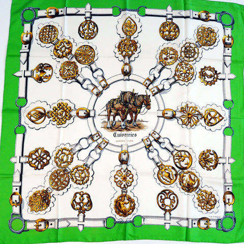 Cuivreries HERMES Early Issue Silk Scarf
