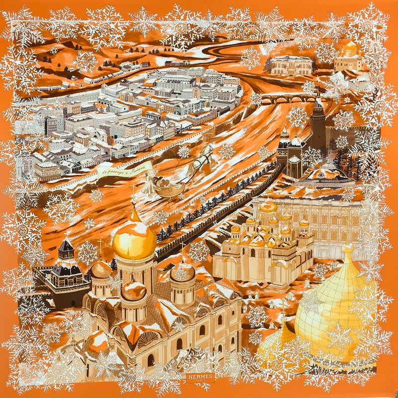 Hermes Silk Scarf De Passage a Moscou Grail Orange w/BOX