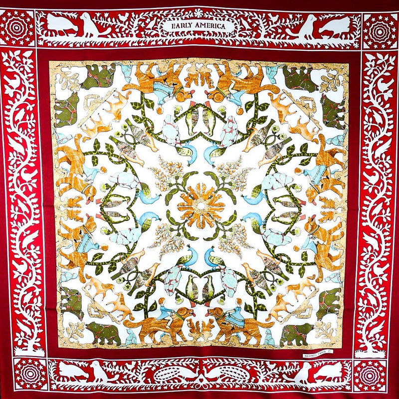 Early America HERMES Vintage Silk Scarf Early Issue in red