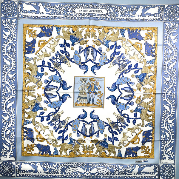 Early America Hermes Scarf by Francoise de la Perriere 90cm Silk Reissue