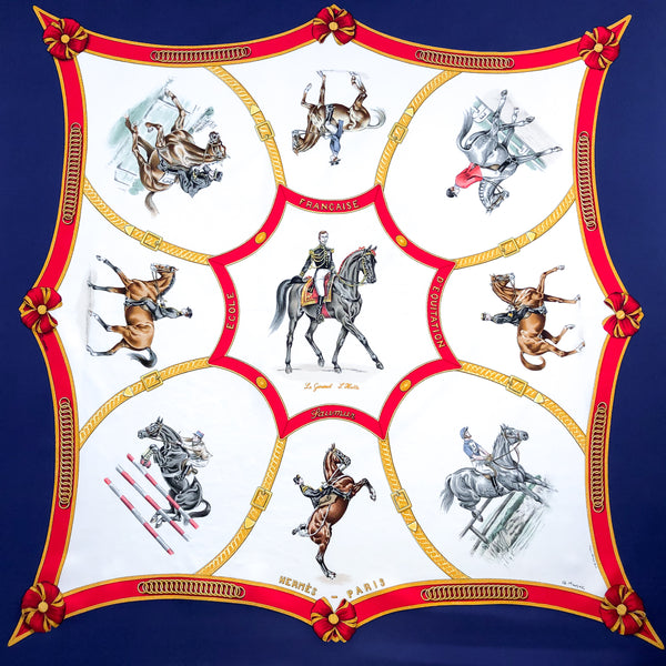 Ecole Francaise d'Equitation Hermes Scarf by Jean de Fougerolle and COLONEL G. MARGOT 90 cm Silk Twill RARE