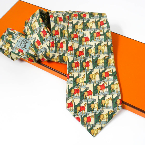 Authentic Hermes Silk Tie Ecuries 7368 PA
