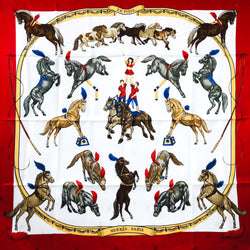 En Piste Hermes Scarf by Robert Dallet 90cm Silk Red CW NIB