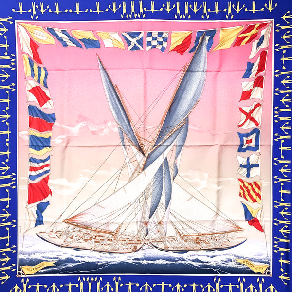 En Course Hermes Scarf by Manier 90 cm Silk w/Box