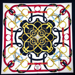 Eperon d'Or HERMES scarf in red, white and blue