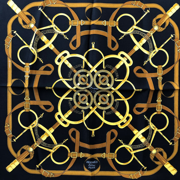 Eperon d'Or Hermes Pocket Square by Henry d'Origny Silk 42 cm