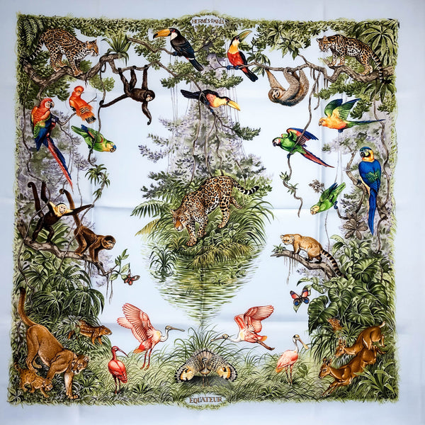 Equateur Hermes silk scarf 90 cm square on light blue background