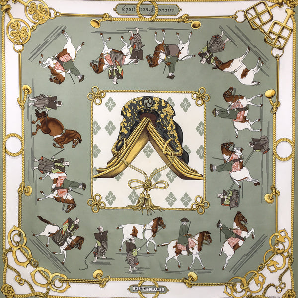 Equitation Japonaise Hermes Silk Scarf Vintage 90cm twill in mossy green and cream