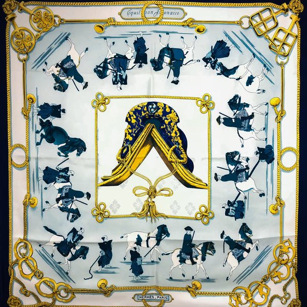 Equitation Japonaise Hermes Silk Scarf 1969 Early Issue