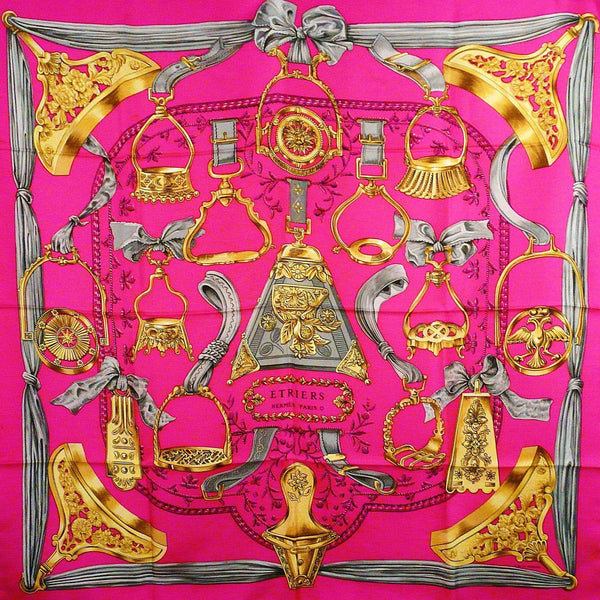 Etriers HERMES Silk Scarf in Bright Pink