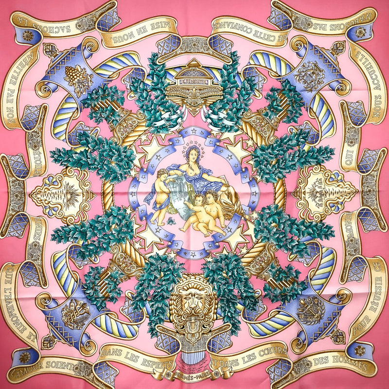 Europe Hermes silk scarf in pink - 90 cm square