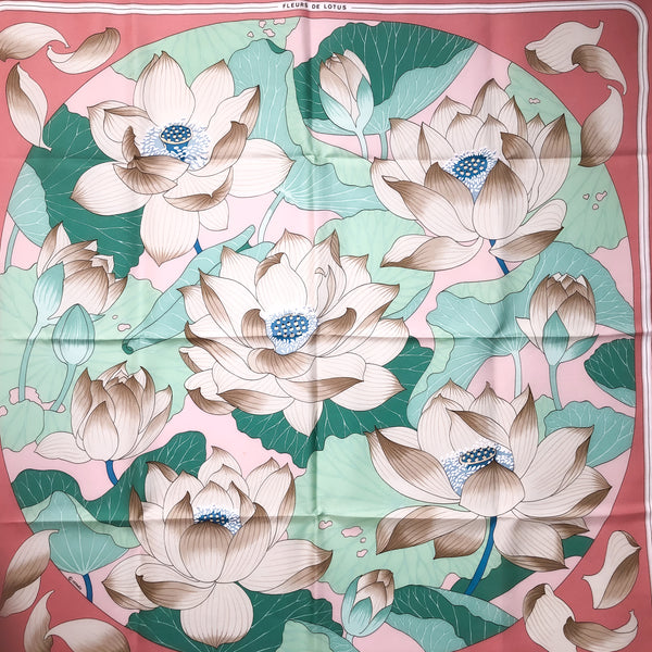 Fleurs de Lotus Hermes silk scarf in pink and teal