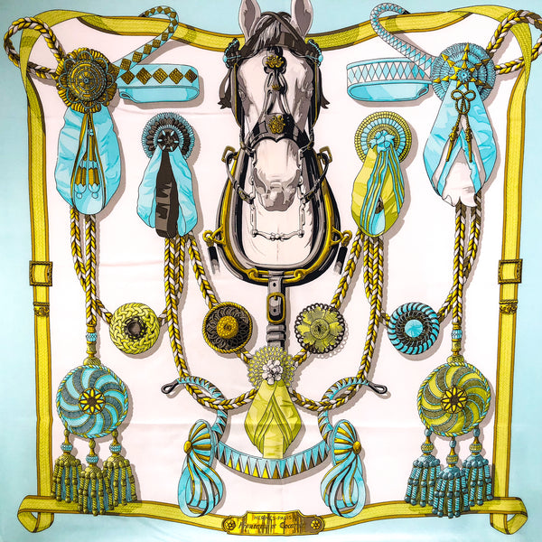 FRONTAUX ET COCARDES Hermes Silk Scarf Original 1968 Issue