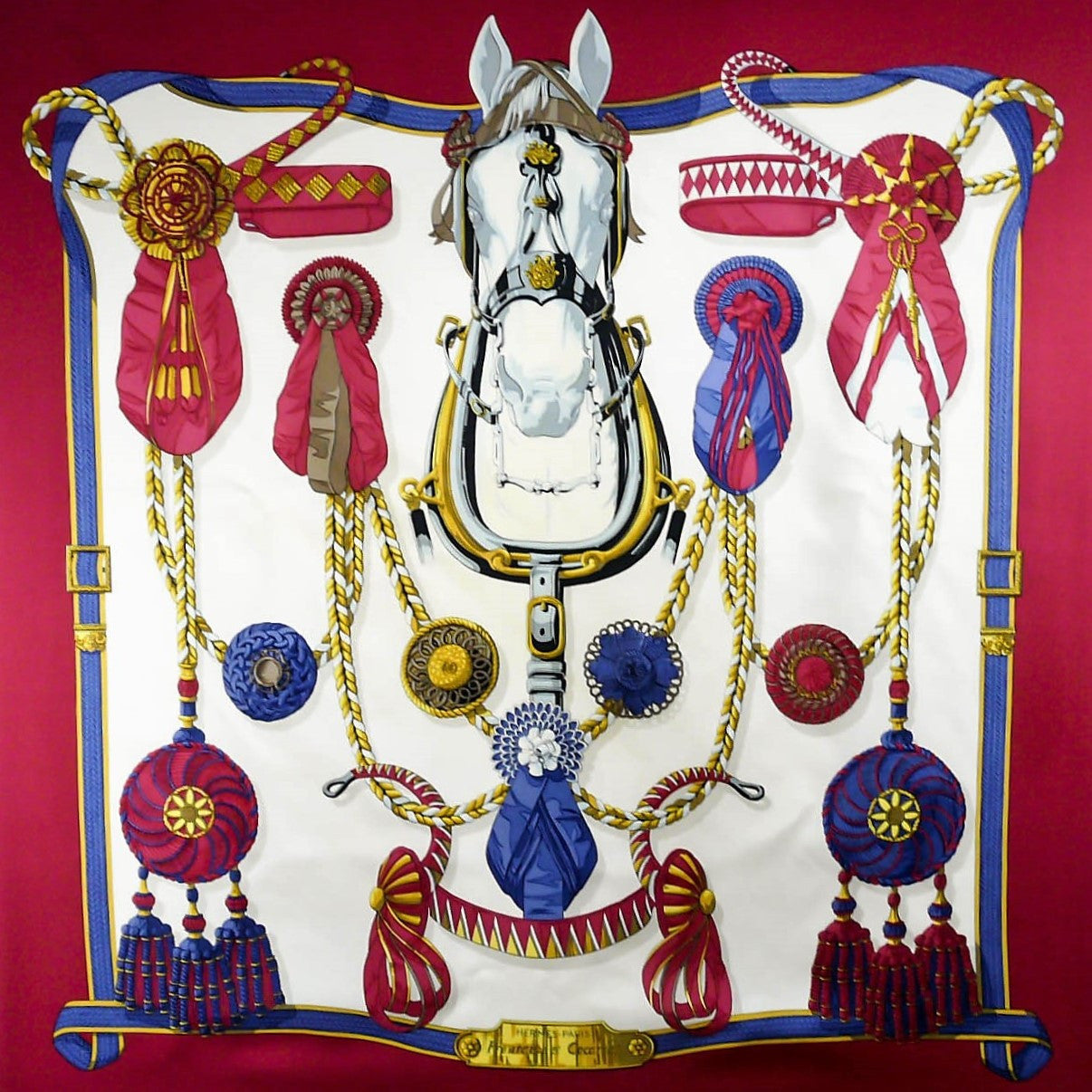Frontaux et Cocardes HERMES Silk Scarf Vintage Early Issue