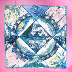 Giverny Hermes Scarf by Toutsy 90 cm Silk Pink