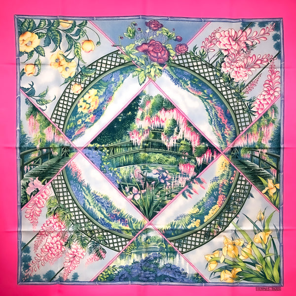Giverny Hermes Scarf by Toutsy 90 cm Silk Bright Pink NIB
