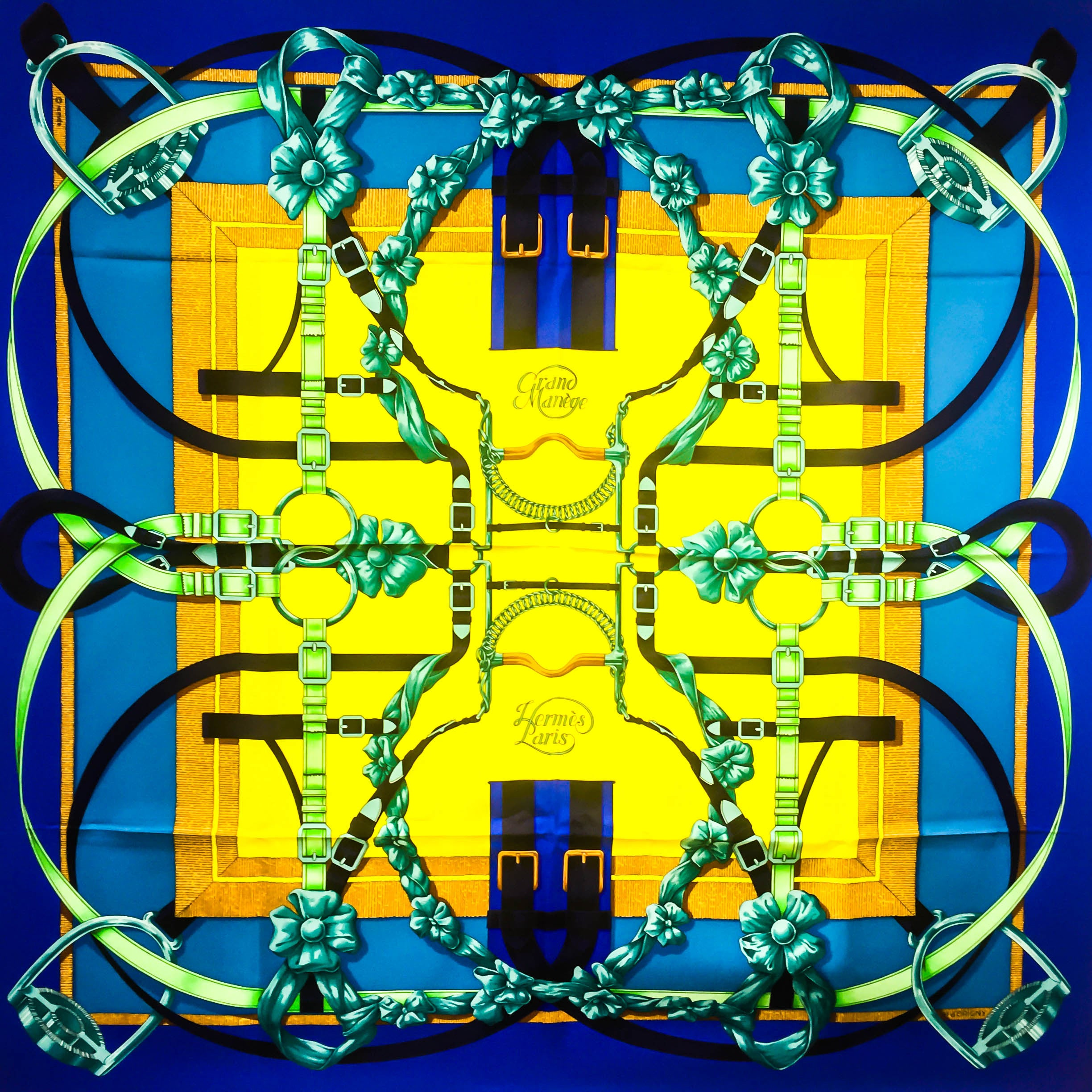 Grand Manege HERMES Silk scarf in blue and yellow
