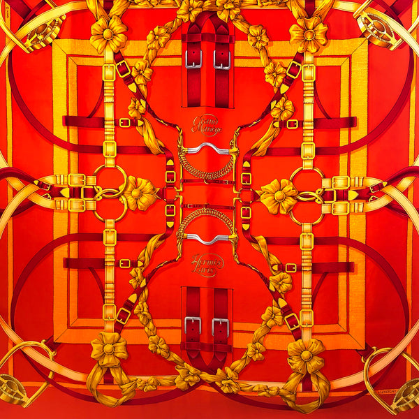 Hermes Silk Scarf Grand Manege Orange Red