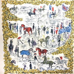 Hermes Silk Scarf Grand Prix de Polo de Bagatelle 90 cm GRAIL