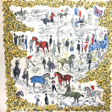 Hermes Silk Scarf Grand Prix de Polo de Bagatelle 1955 VERY RARE Grail