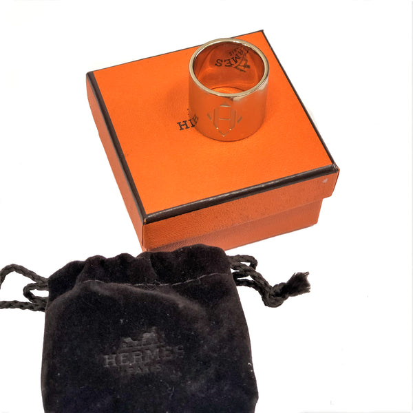 HERMES Anneau H Diamant Scarf Ring w-Box and velvet pouch